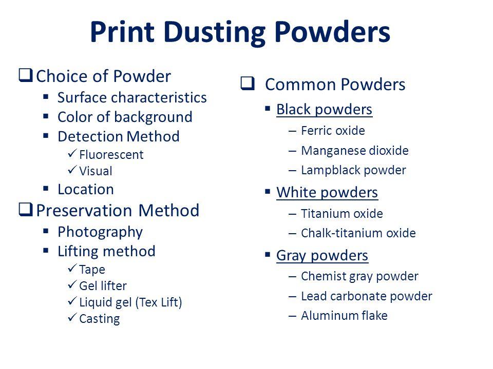 Print Dusting Powders Choice of Powder Common Powders
