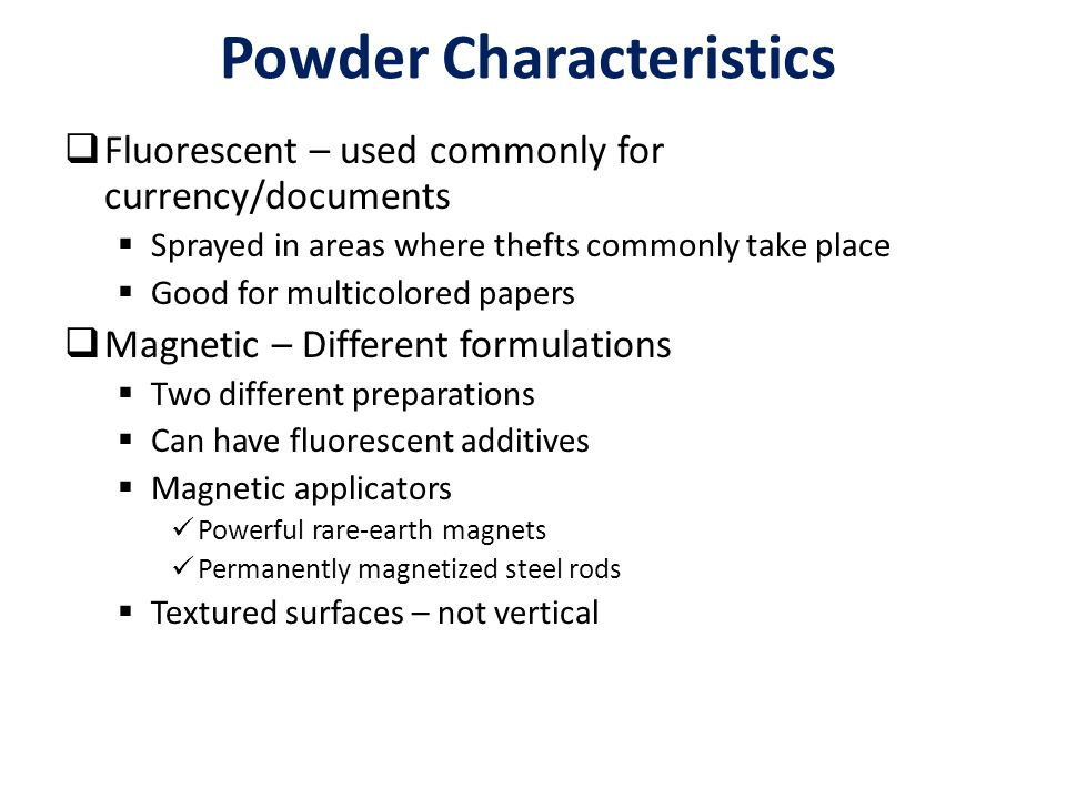 Powder Characteristics