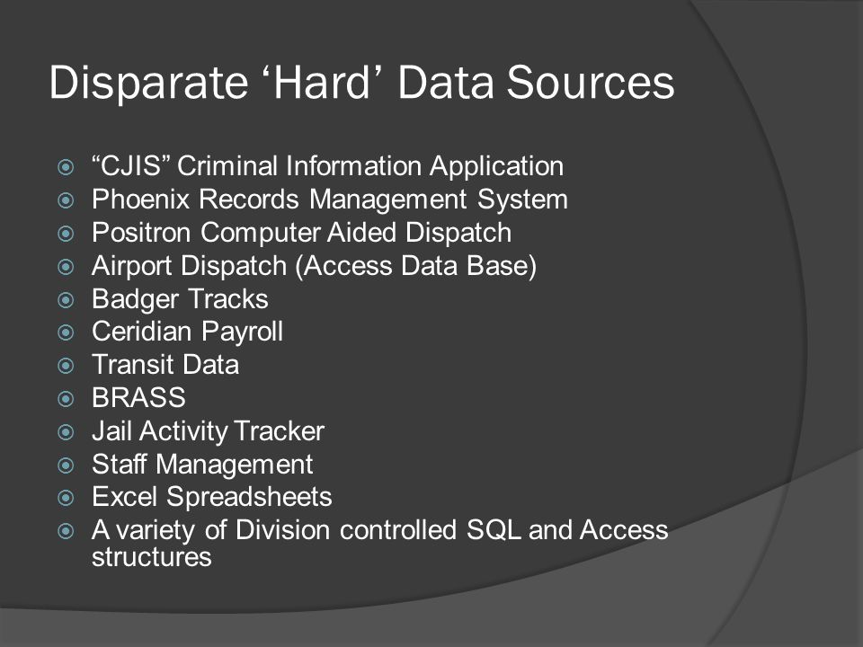 Disparate 'Hard' Data Sources