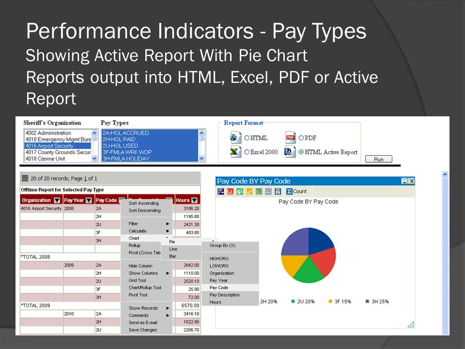 Performance Indicators - Pay Types Showing Active Report With Pie Chart Reports output into HTML, Excel, PDF or Active Report