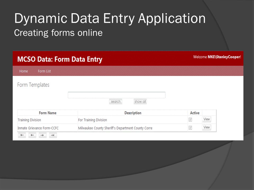 Dynamic Data Entry Application Creating forms online