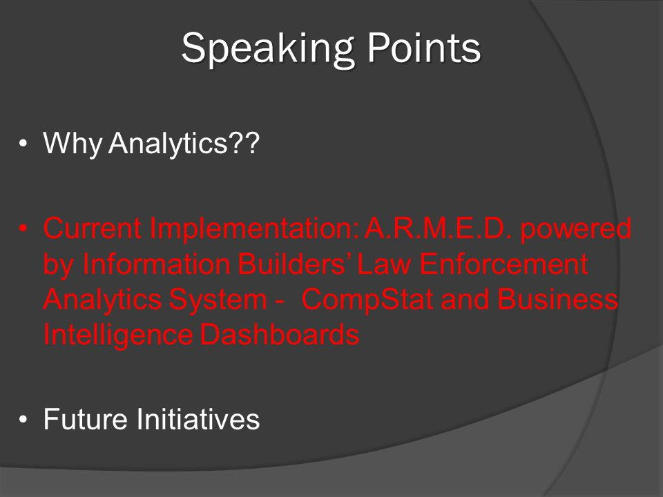 Speaking Points Why Analytics