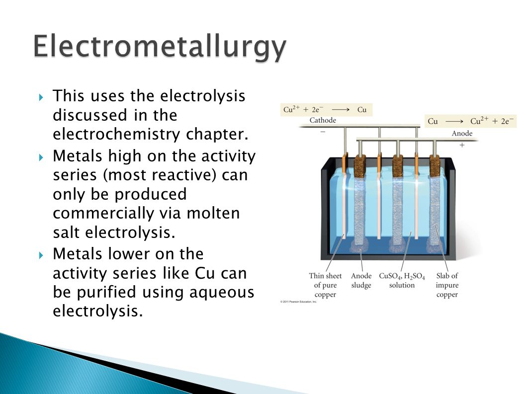 Electrometallurgy This uses the electrolysis discussed in the electrochemistry chapter.