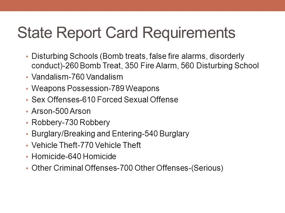 State Report Card Requirements