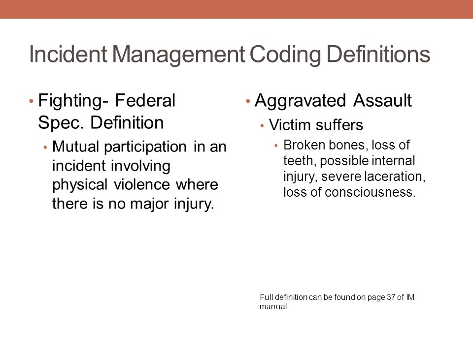 Incident Management Coding Definitions