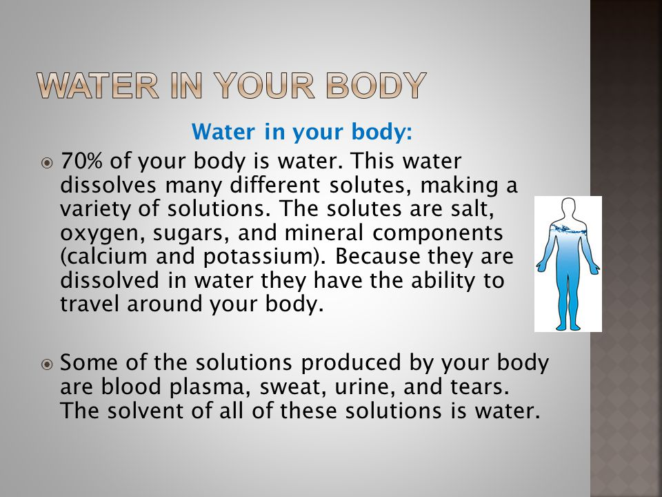 Water in your body Water in your body: