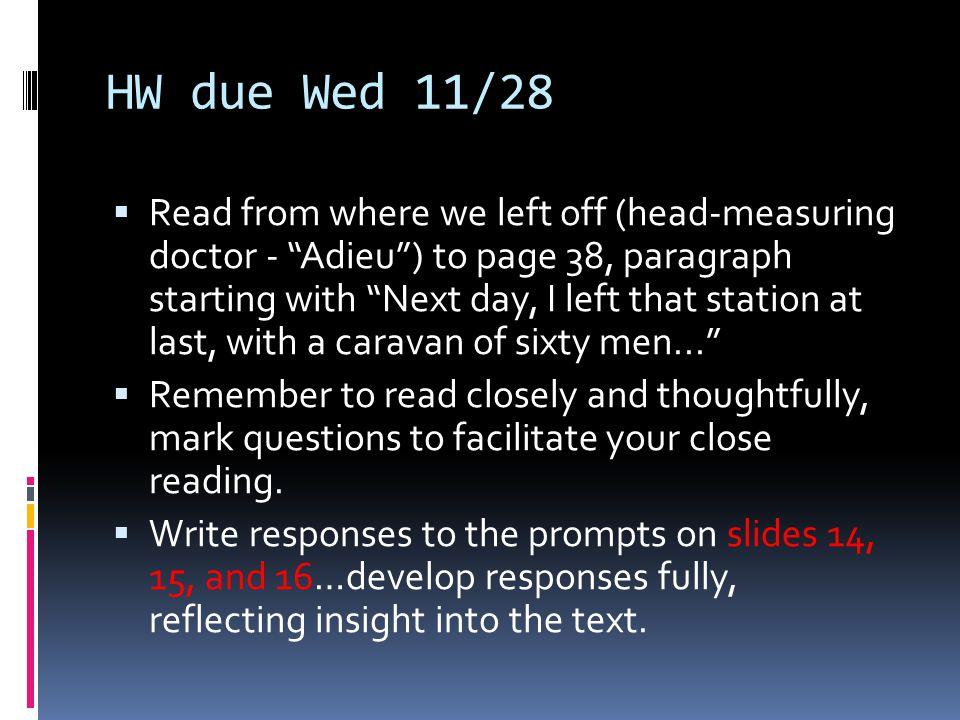 HW due Wed 11/28
