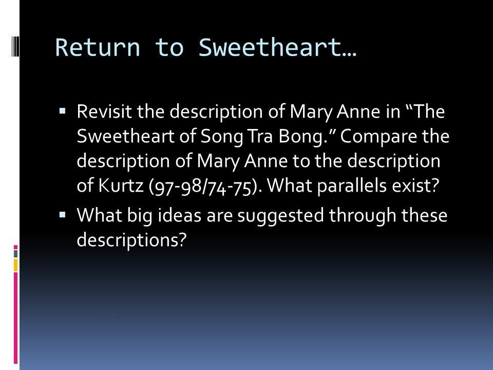 Return to Sweetheart…