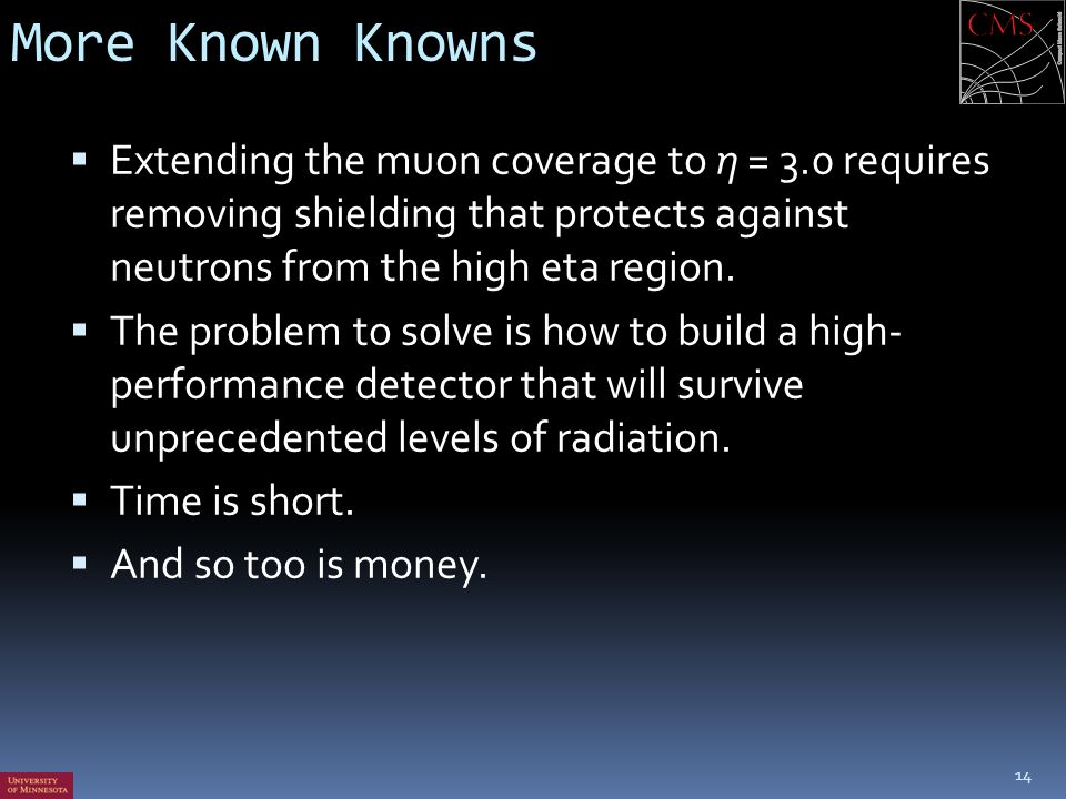 More Known Knowns Extending the muon coverage to η = 3.0 requires removing shielding that protects against neutrons from the high eta region.