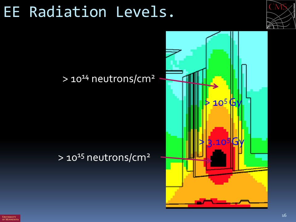 EE Radiation Levels. > 1014 neutrons/cm2 > 105 Gy > 3.105 Gy