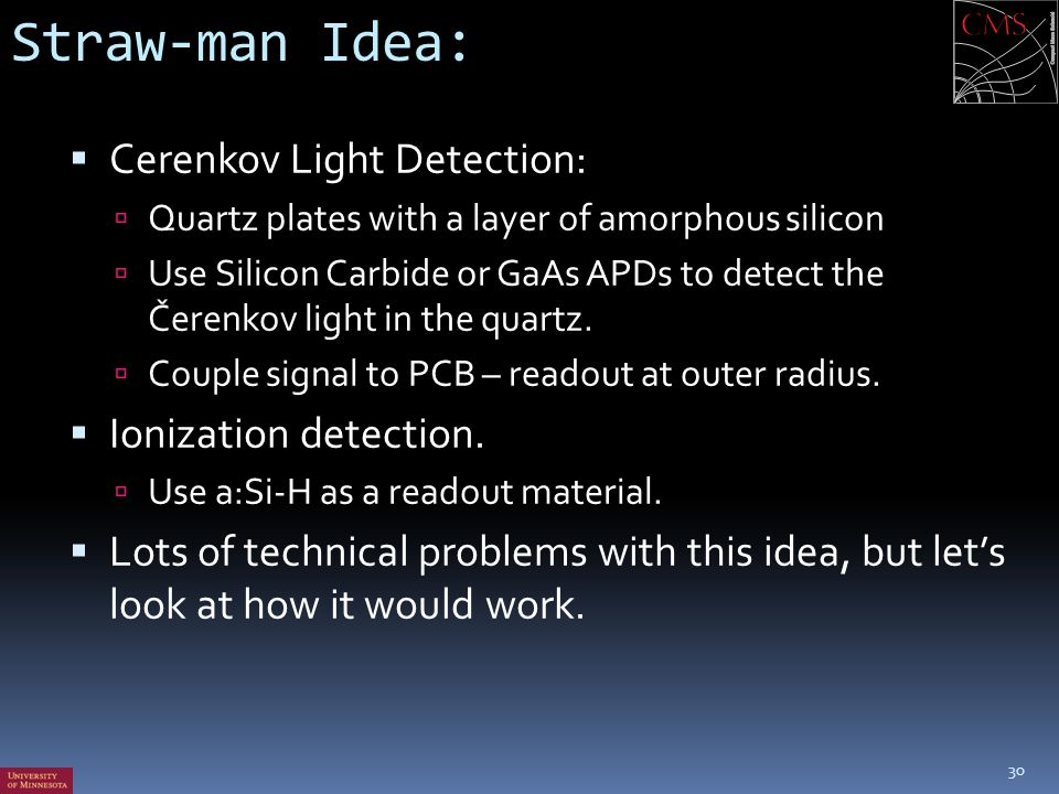 Straw-man Idea: Cerenkov Light Detection: Ionization detection.