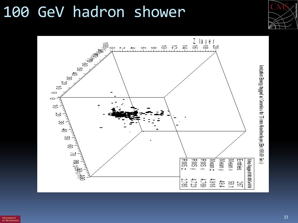 100 GeV hadron shower