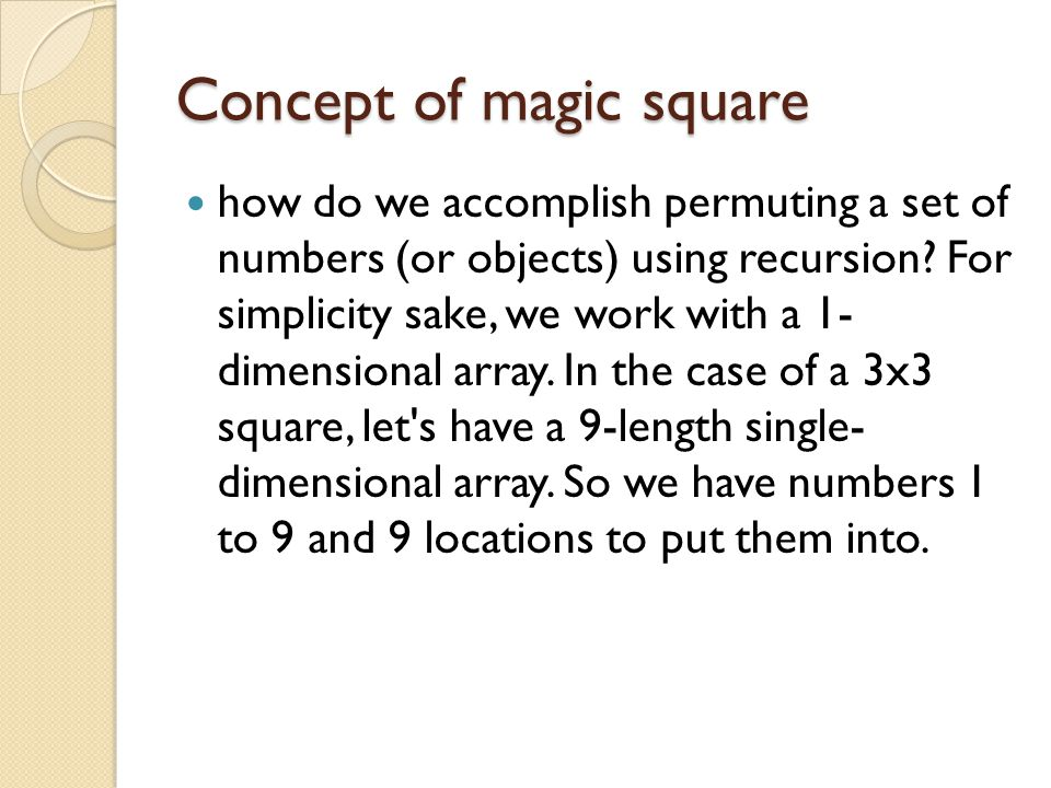 Concept of magic square