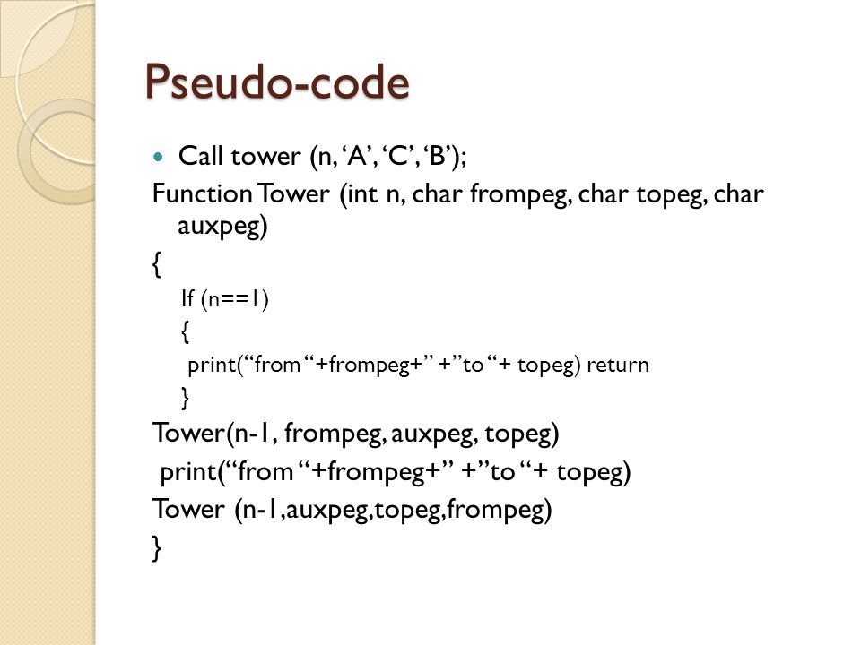 Pseudo-code Call tower (n, 'A', 'C', 'B');
