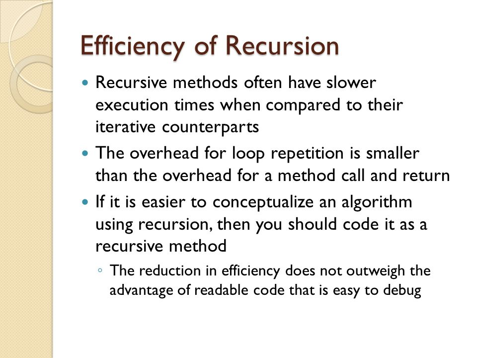 Efficiency of Recursion