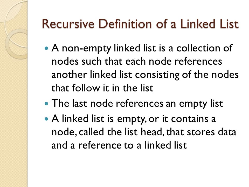 Recursive Definition of a Linked List