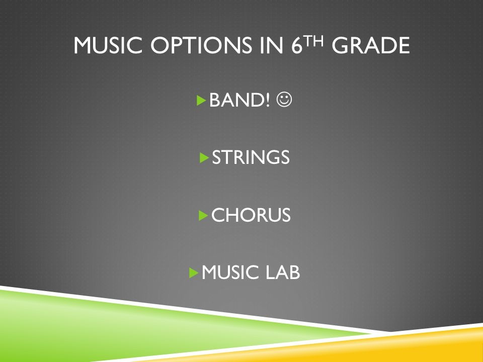 Music options in 6th grade