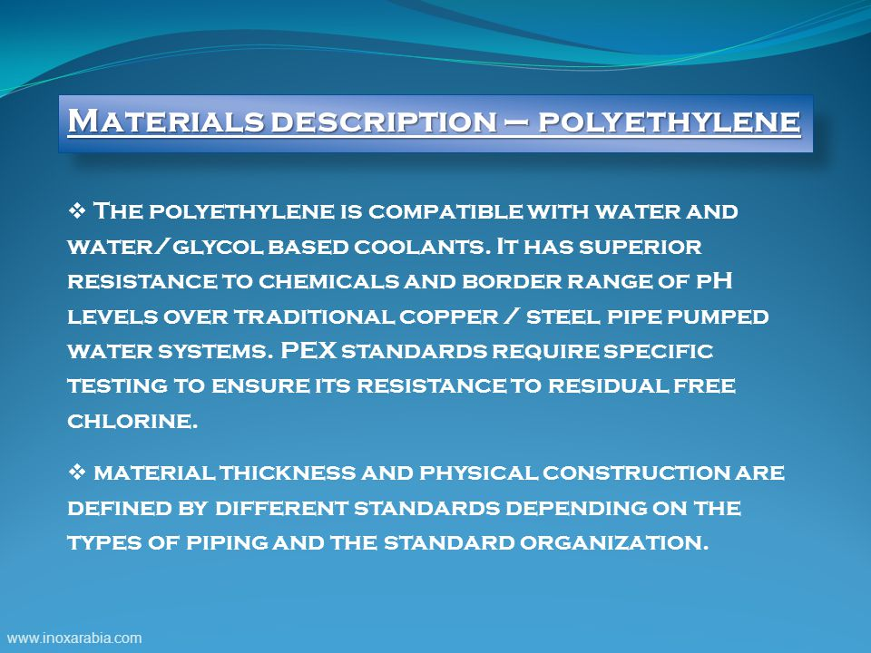 Materials description – polyethylene