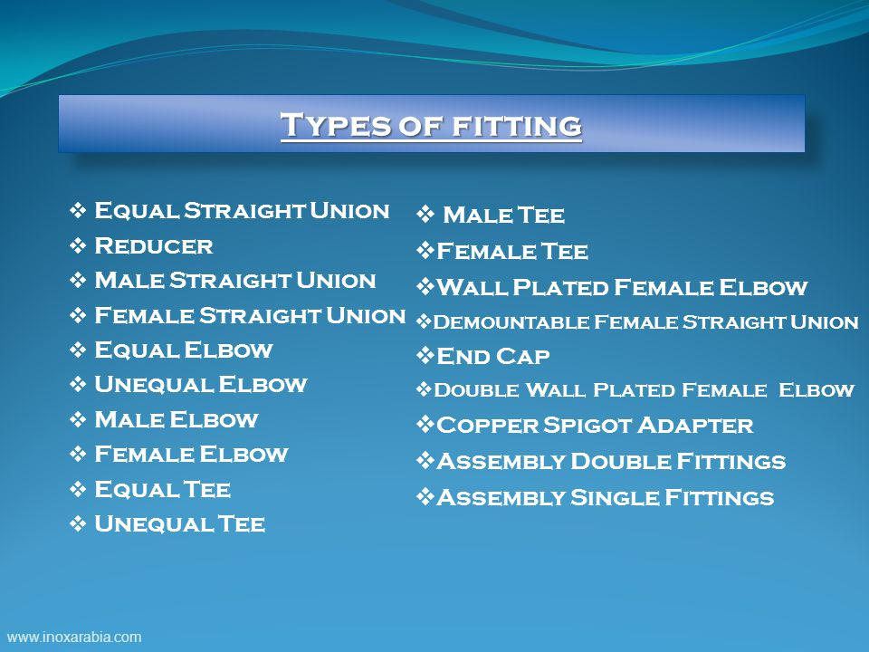 Types of fitting Equal Straight Union Male Tee Reducer Female Tee