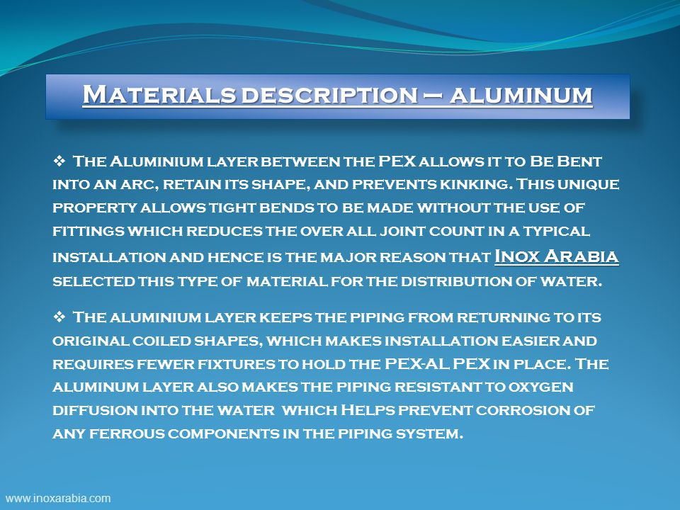 Materials description – aluminum