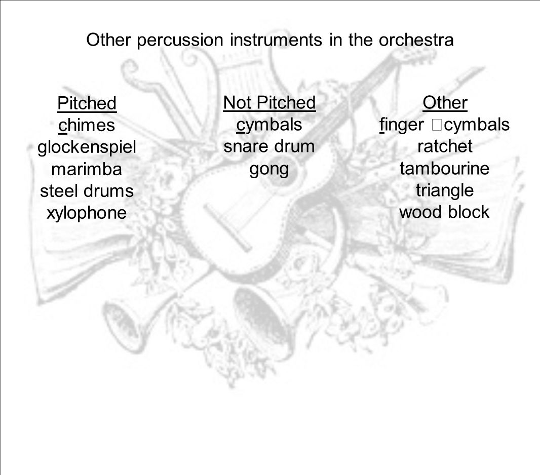 Other percussion instruments in the orchestra