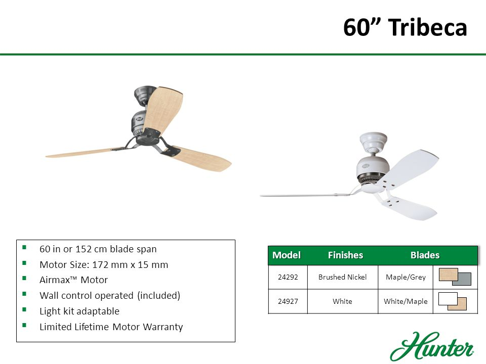 60 Tribeca 60 in or 152 cm blade span Motor Size: 172 mm x 15 mm