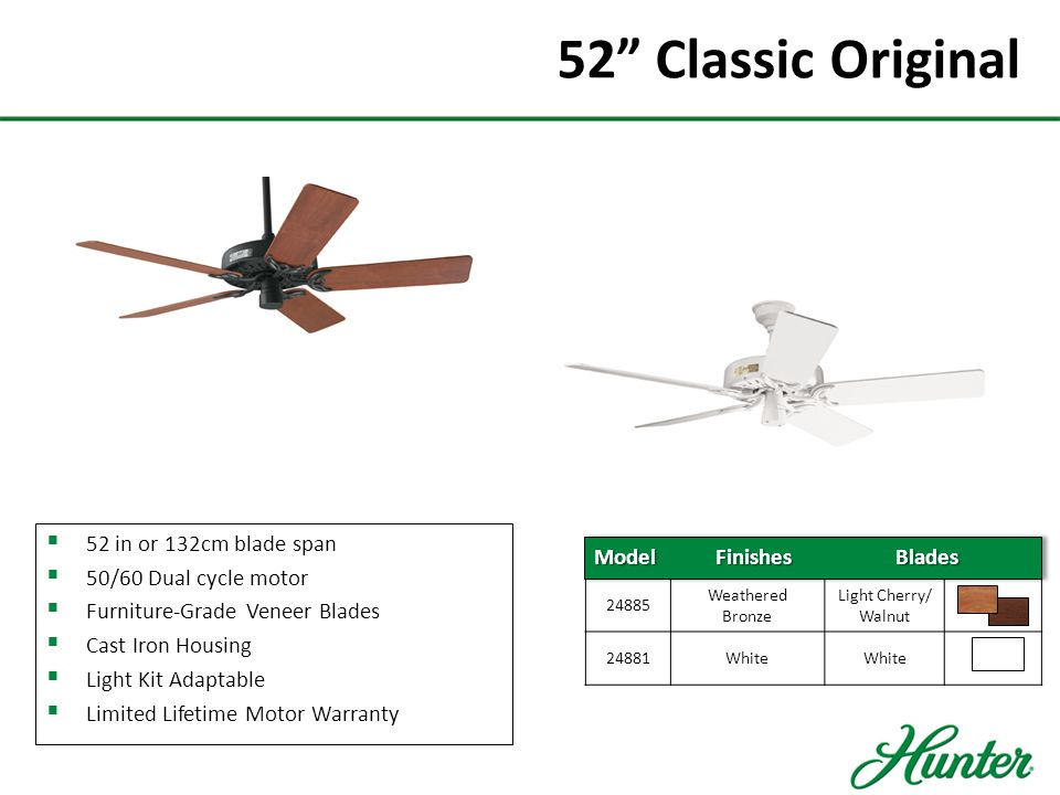 52 Classic Original 52 in or 132cm blade span 50/60 Dual cycle motor