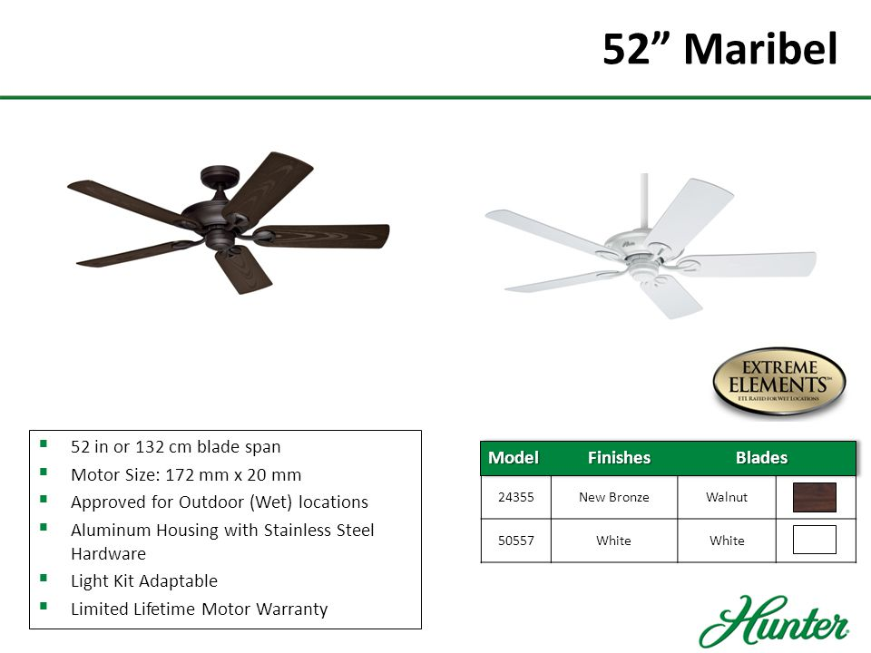 52 Maribel 52 in or 132 cm blade span Motor Size: 172 mm x 20 mm