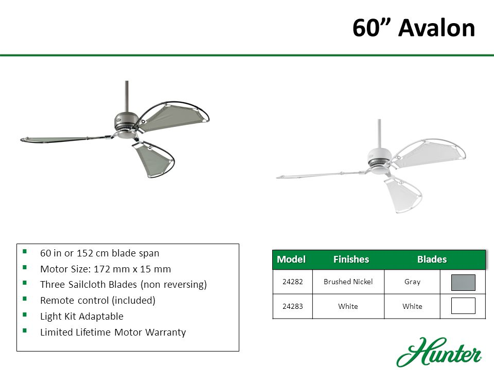 60 Avalon 60 in or 152 cm blade span Motor Size: 172 mm x 15 mm