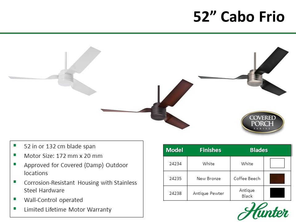 52 Cabo Frio 52 in or 132 cm blade span Motor Size: 172 mm x 20 mm