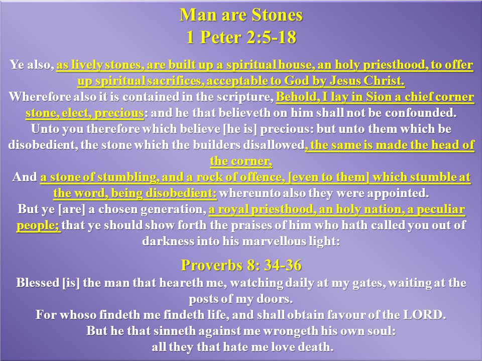 Man are Stones 1 Peter 2:5-18 Proverbs 8: 34-36