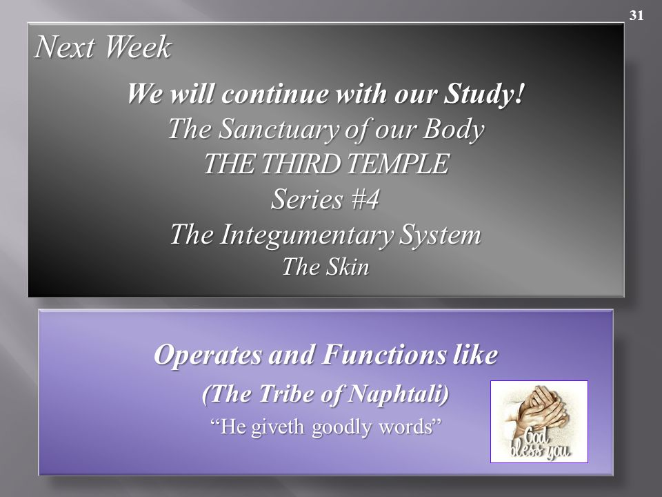 Next Week We will continue with our Study! The Sanctuary of our Body