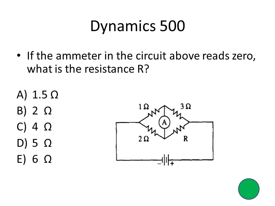 Dynamics 500 If the ammeter in the circuit above reads zero, what is the resistance R 1.5 Ω. 2 Ω.