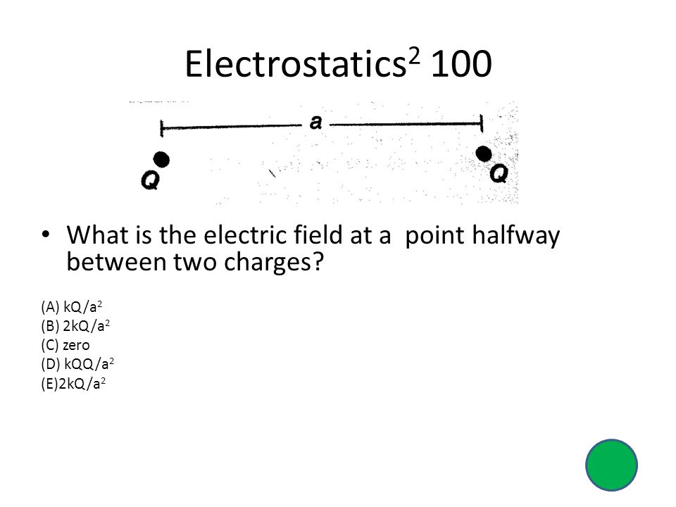 Electrostatics2 100 What is the electric field at a point halfway between two charges (A) kQ/a2.