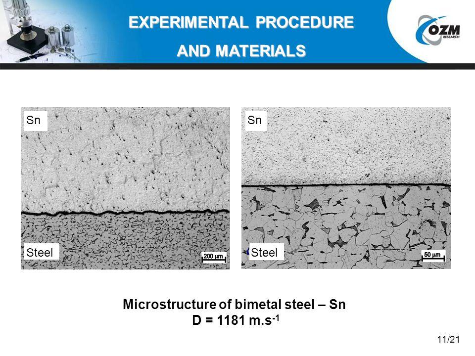 EXPERIMENTAL PROCEDURE Microstructure of bimetal steel – Sn