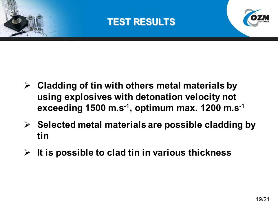 Selected metal materials are possible cladding by tin