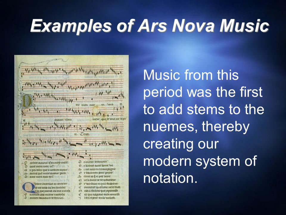 Examples of Ars Nova Music