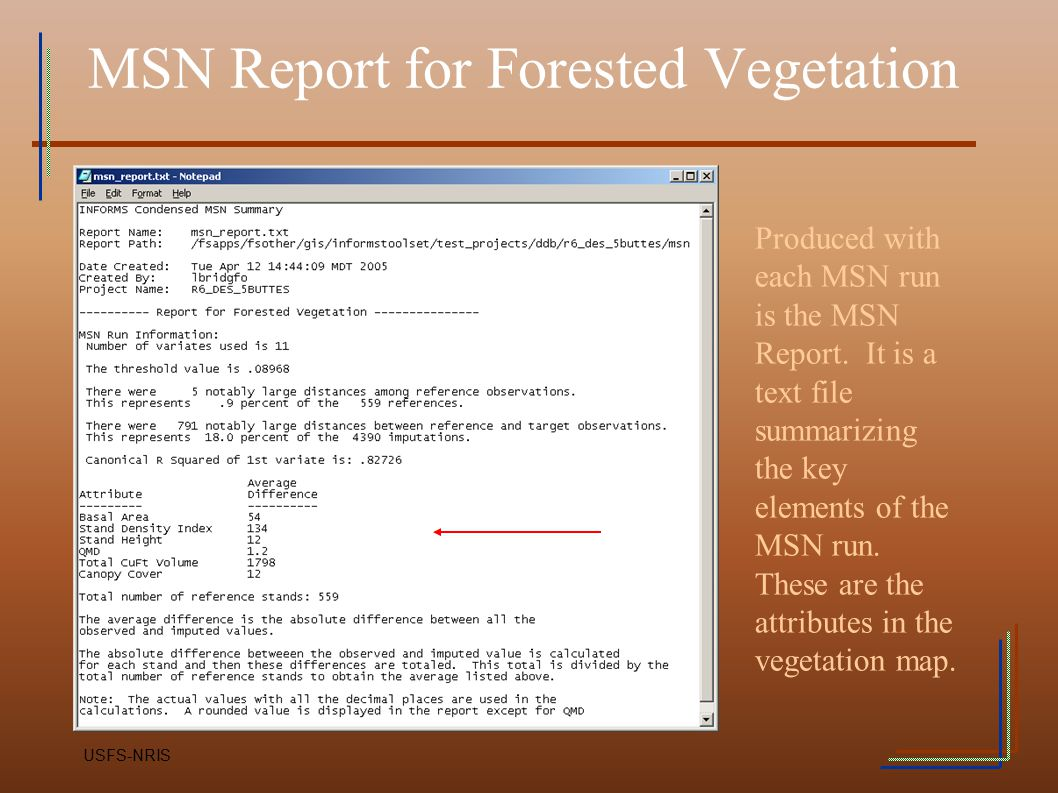 MSN Report for Forested Vegetation