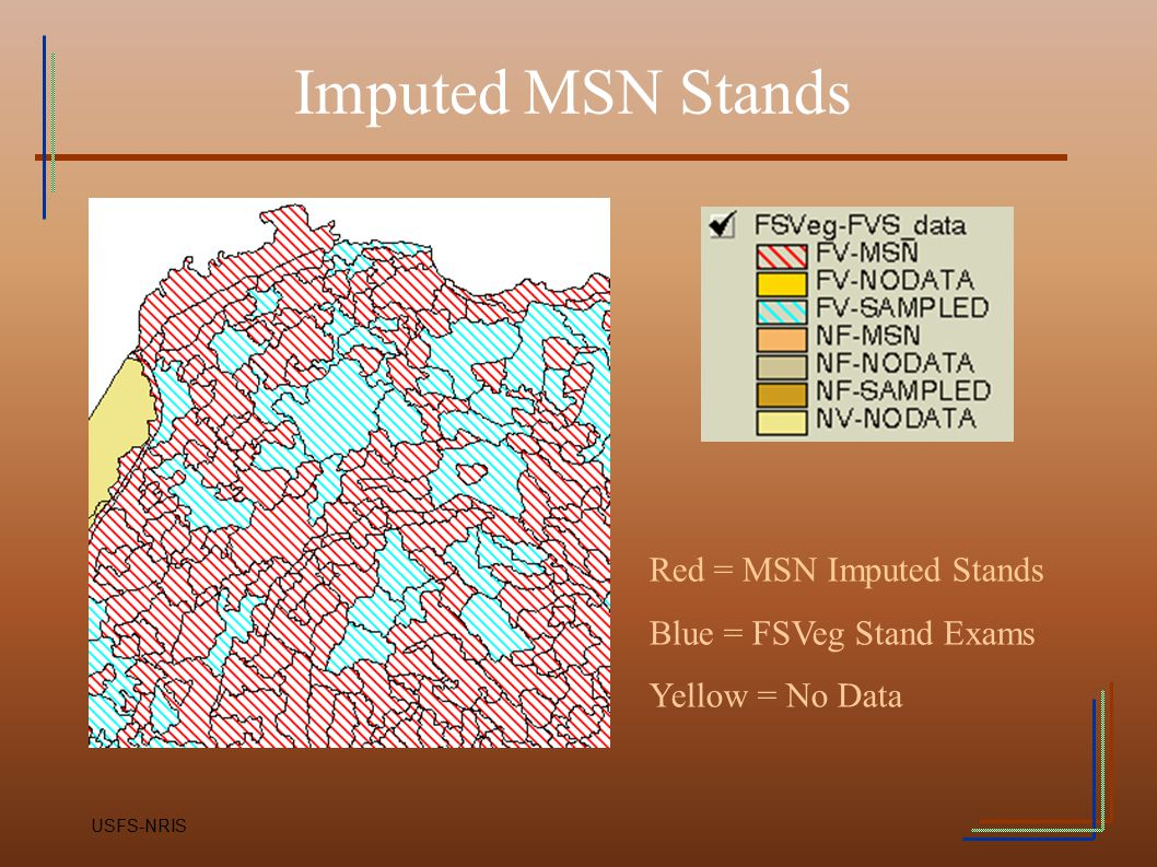 Imputed MSN Stands Red = MSN Imputed Stands Blue = FSVeg Stand Exams