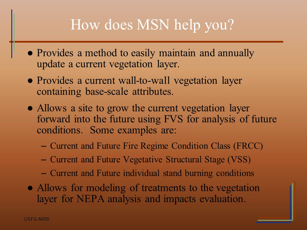 How does MSN help you Provides a method to easily maintain and annually update a current vegetation layer.