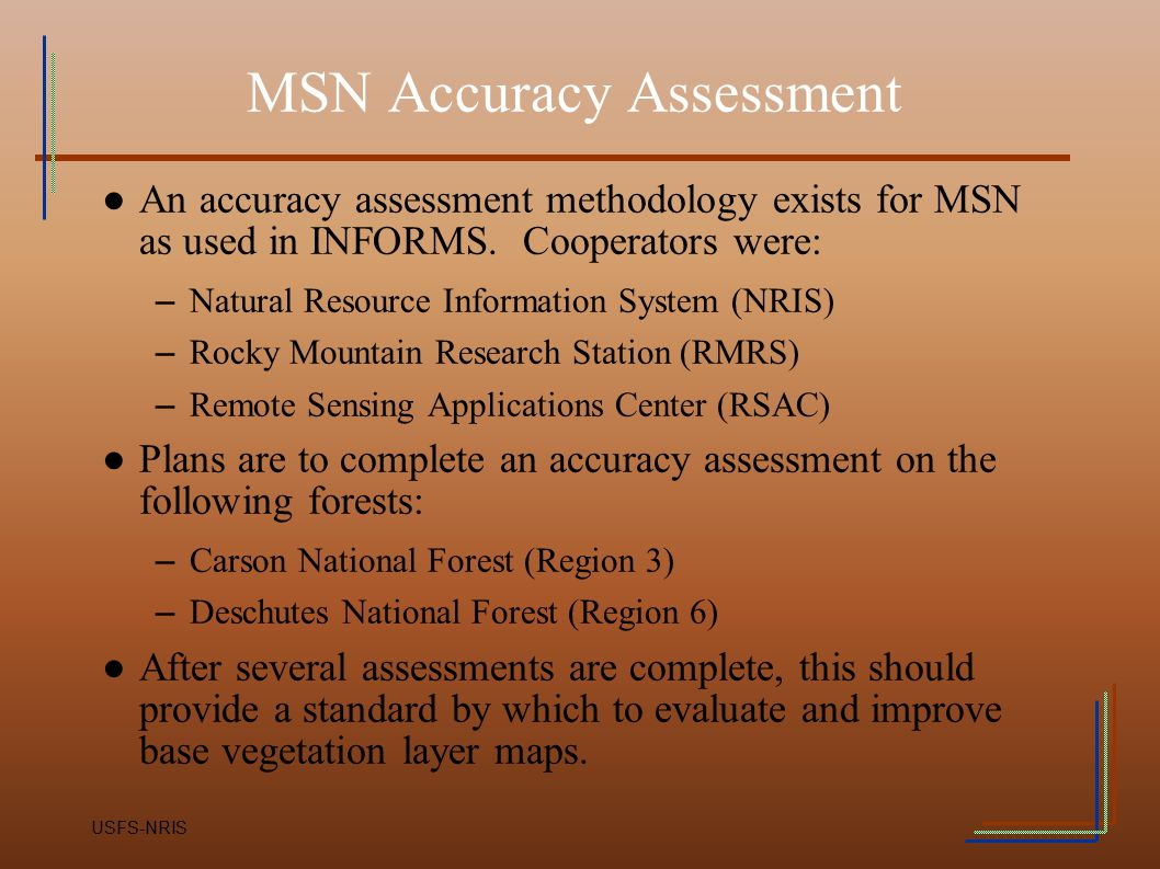 MSN Accuracy Assessment
