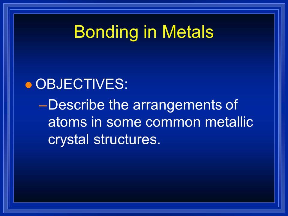Bonding in Metals OBJECTIVES: