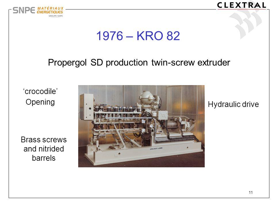 1976 – KRO 82 Propergol SD production twin-screw extruder
