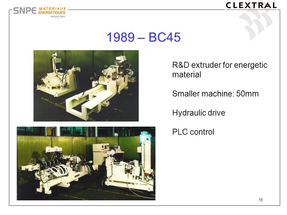 1989 – BC45 R&D extruder for energetic material Smaller machine: 50mm