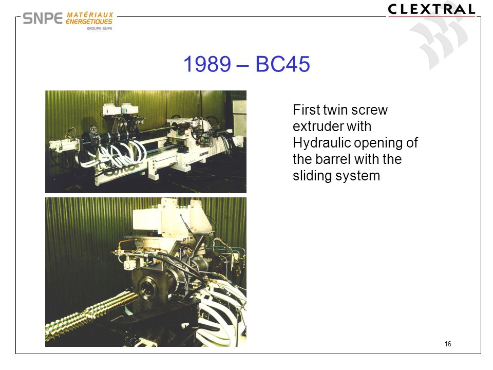 1989 – BC45 First twin screw extruder with Hydraulic opening of the barrel with the sliding system
