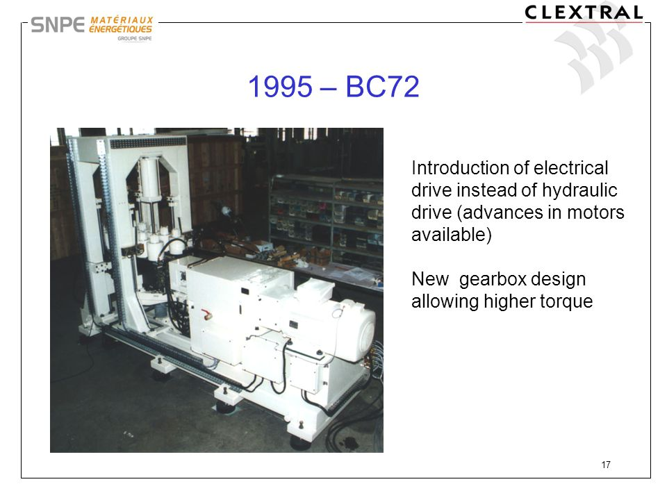 1995 – BC72 Introduction of electrical drive instead of hydraulic drive (advances in motors available)
