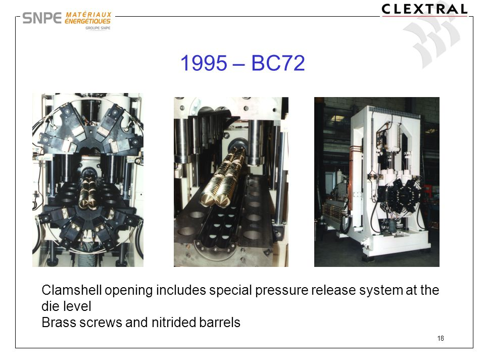 1995 – BC72 Clamshell opening includes special pressure release system at the die level.