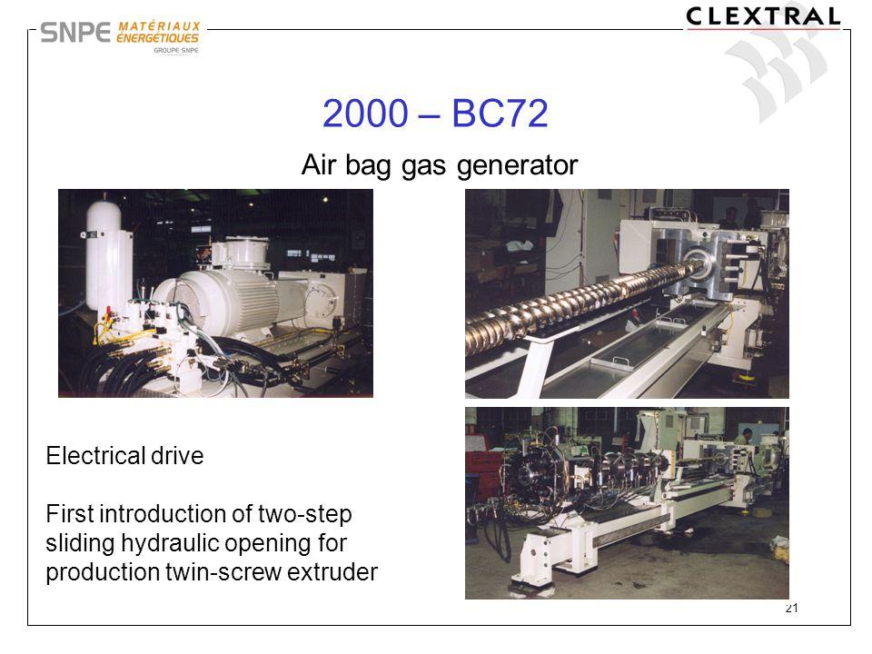 2000 – BC72 Air bag gas generator Electrical drive