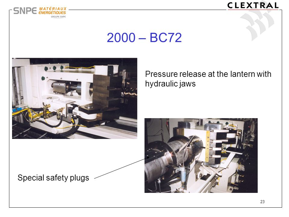 2000 – BC72 Pressure release at the lantern with hydraulic jaws