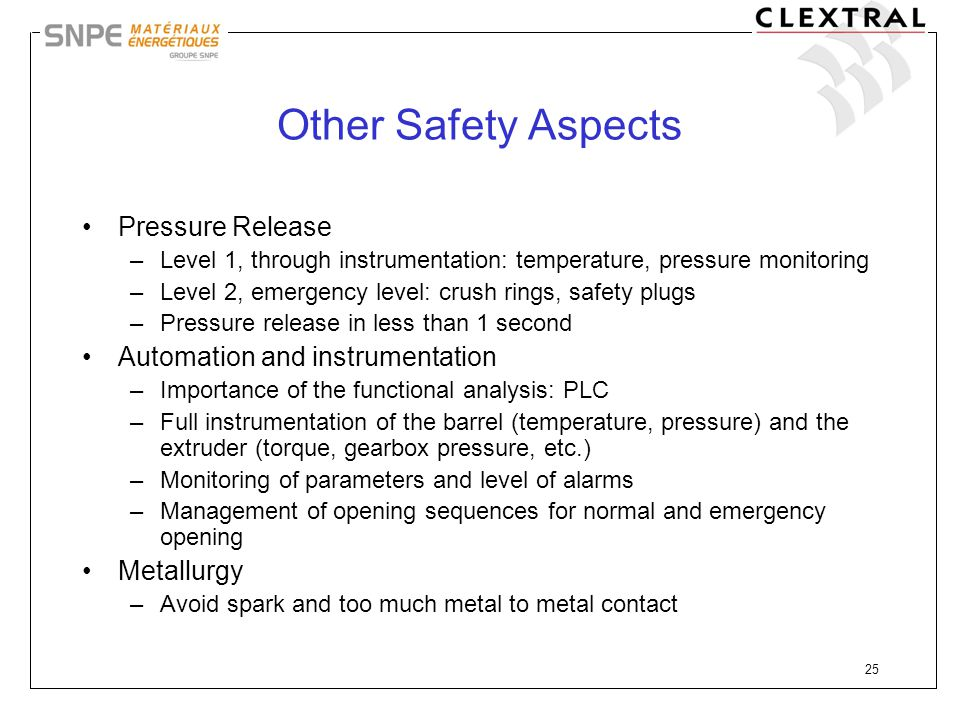 Other Safety Aspects Pressure Release Automation and instrumentation